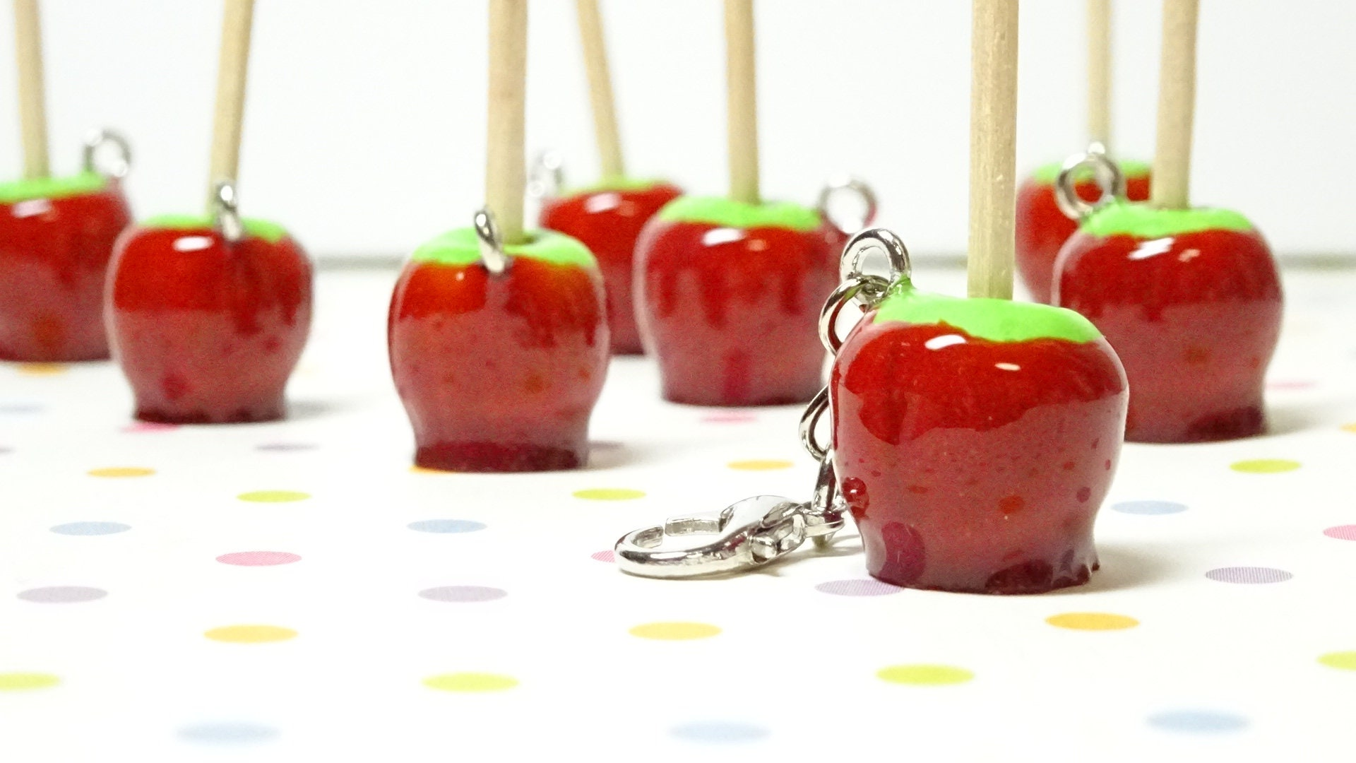 Candy Apple Charm, Food Jewelry, Polymer Clay Charm, Miniature Food,  Halloween Jewelry, Candy Apple Necklace, Autumn Jewelry, Gifts for her