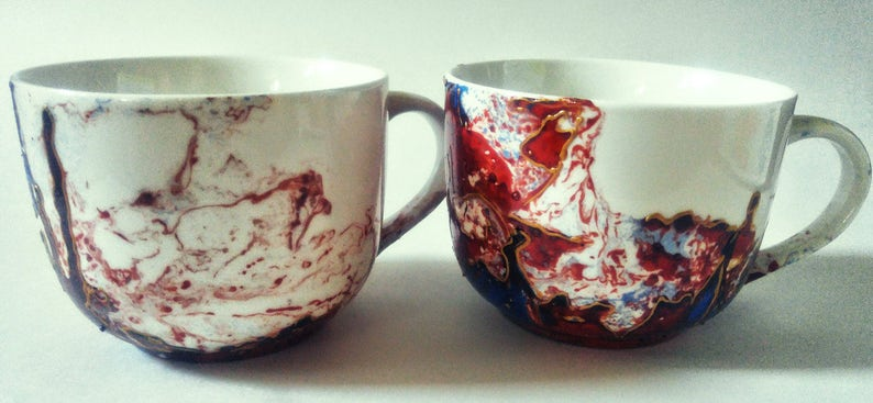 MR AND MRS mug hand painted handmade red and blue valentind image 0