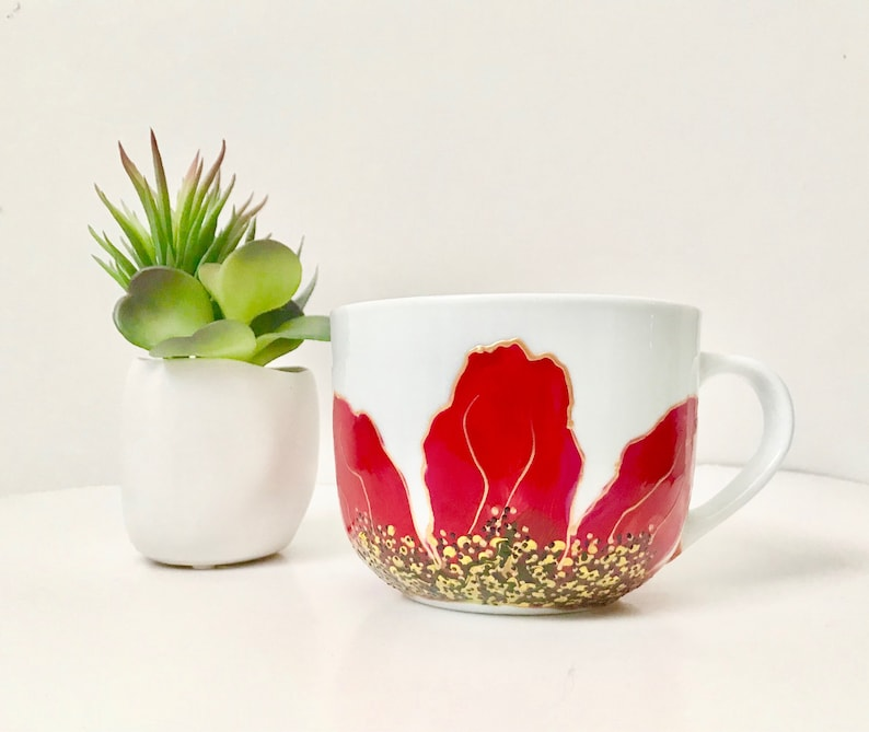 Mug Hibiscus floral paint red gold green and yellow image 0