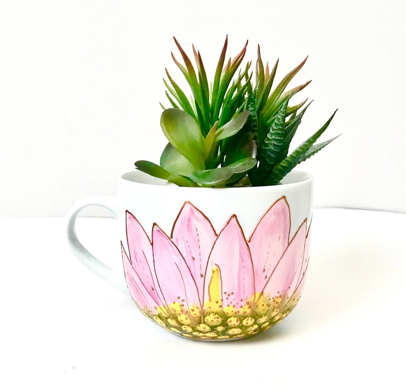 Pink Lotus Mug Mega Handpainted Green Cactus Gift For Her Etsy