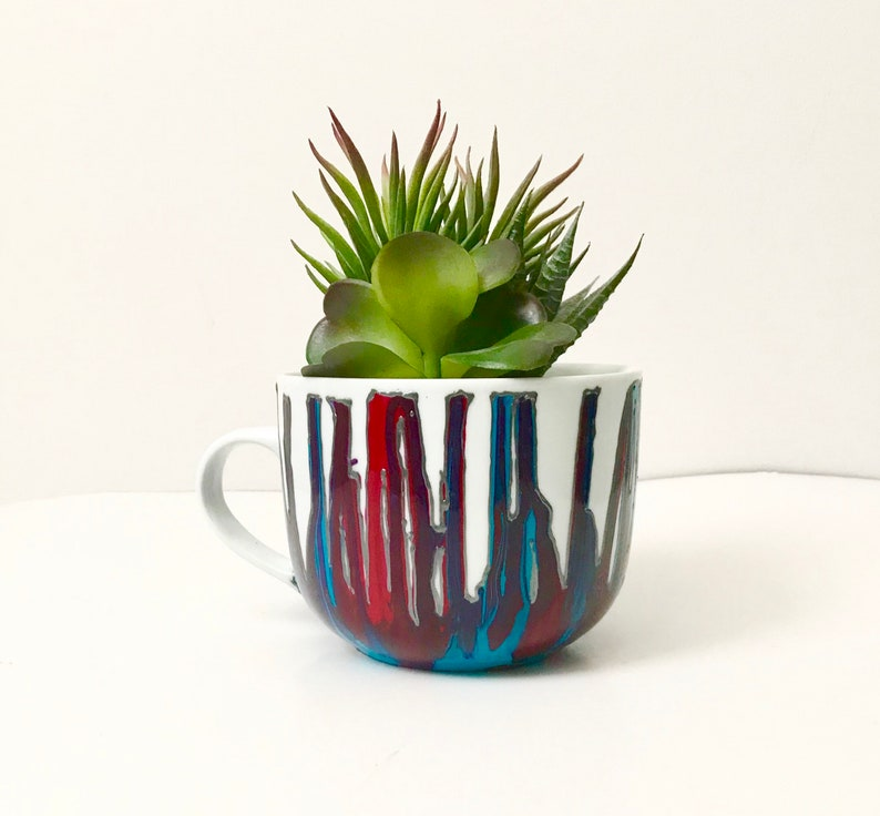 Red and bleu hand painted mug dripping gift for him or her image 0