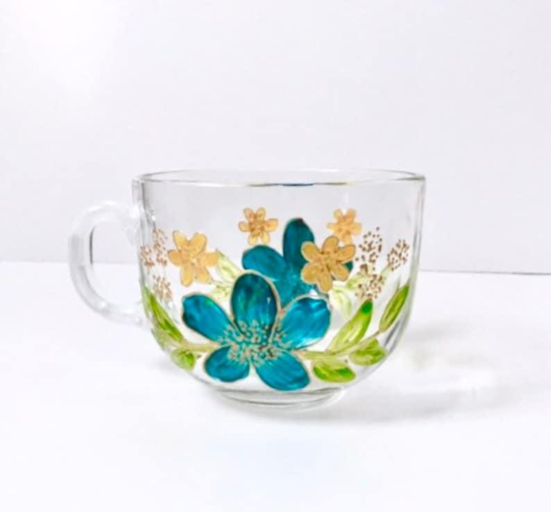 Glass mug handpainted flower painting coffee lover latte image 0