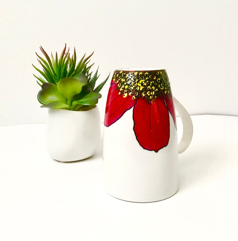 Hibiscus red mug handpainted for soup coffee hot chocolate image 0