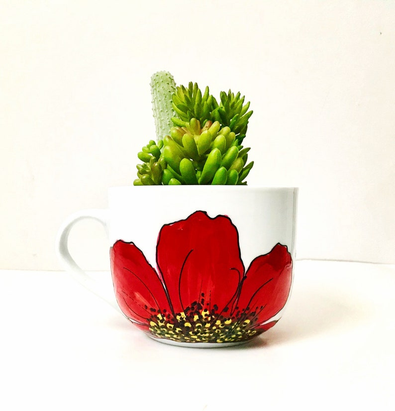 Red Hibiscus mug handpainted for soup coffee hot chocolate image 0