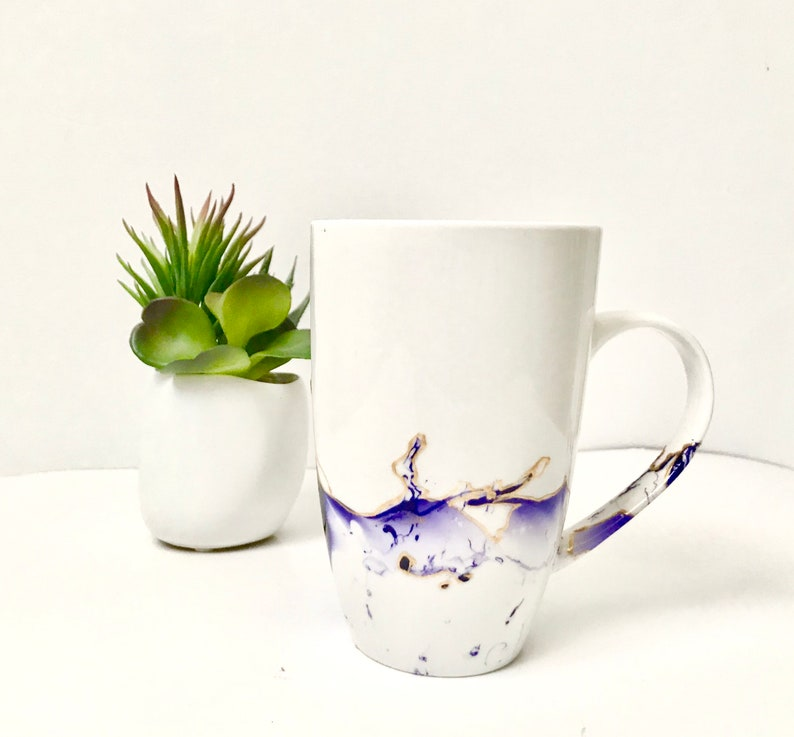 Mug handpainted abstract painting purple and gold breakfast image 0