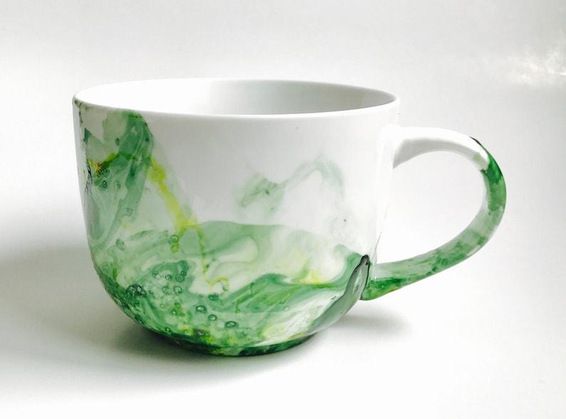 Mug big green and yellow abstract painting handpainted gift image 0