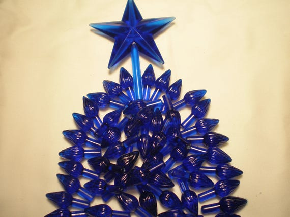 Vintage 50 Royal Blue Twist Lights Ceramic Christmas Tree Bulbs W Blue Classic Star New Low Shipping