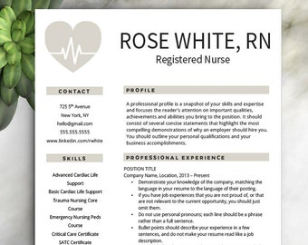 Nursing Cv Template | Nurse Resume Etsy