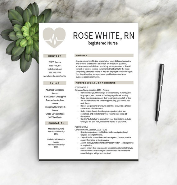 Nurse Resume Template Free Cover Letter Nurse Resume | Etsy