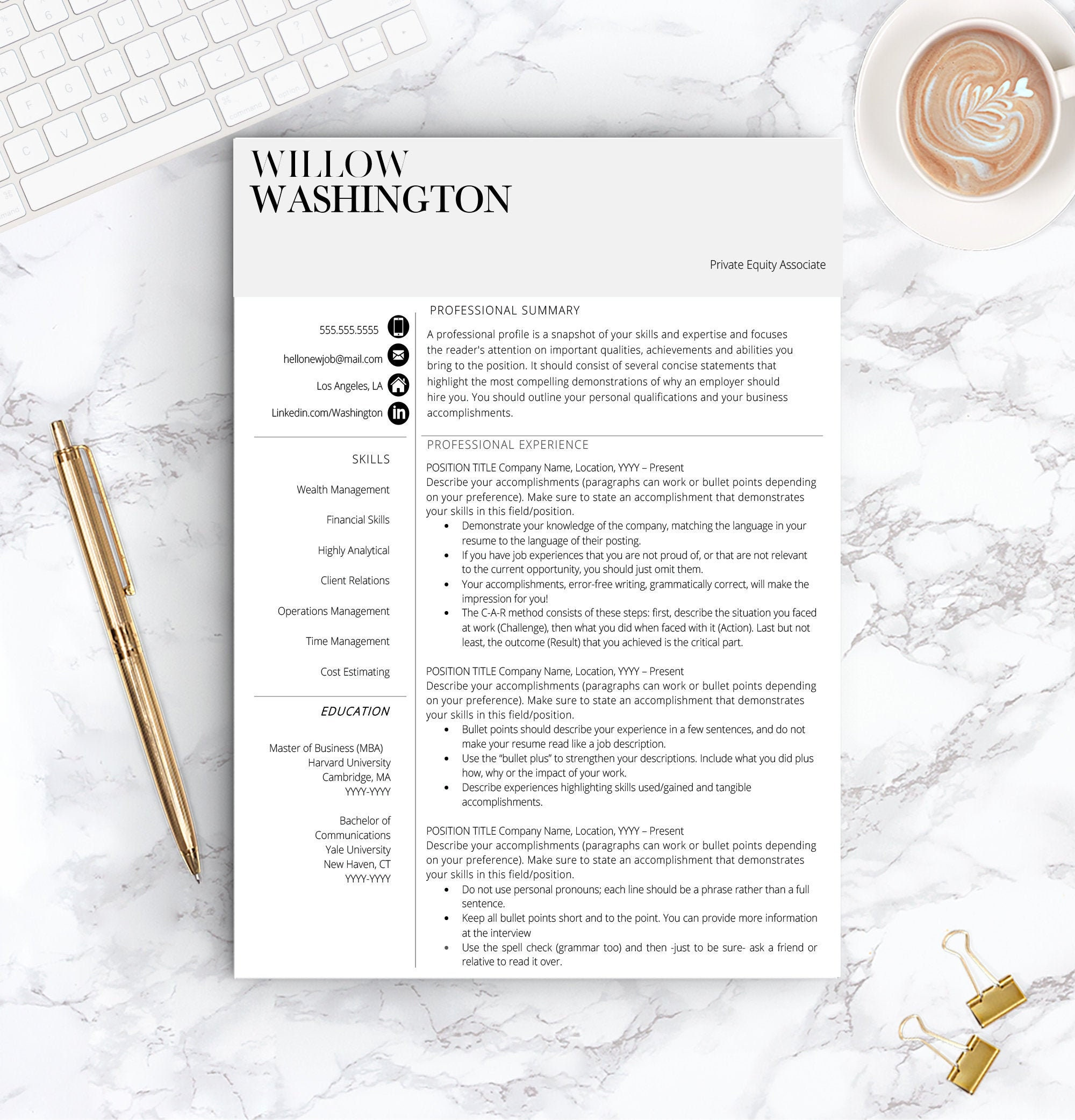 Resume Template for Word | 1 & 2 PageProfessional Resume Template, Cover  Letter | Instant Download |Modern Resume Template |Professional CV