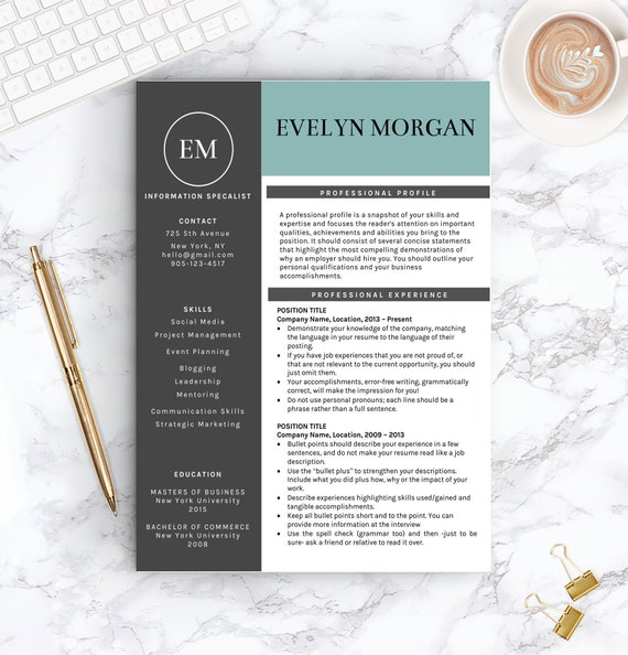 Creative Resume Template For Word Free Cover Letter Social Etsy