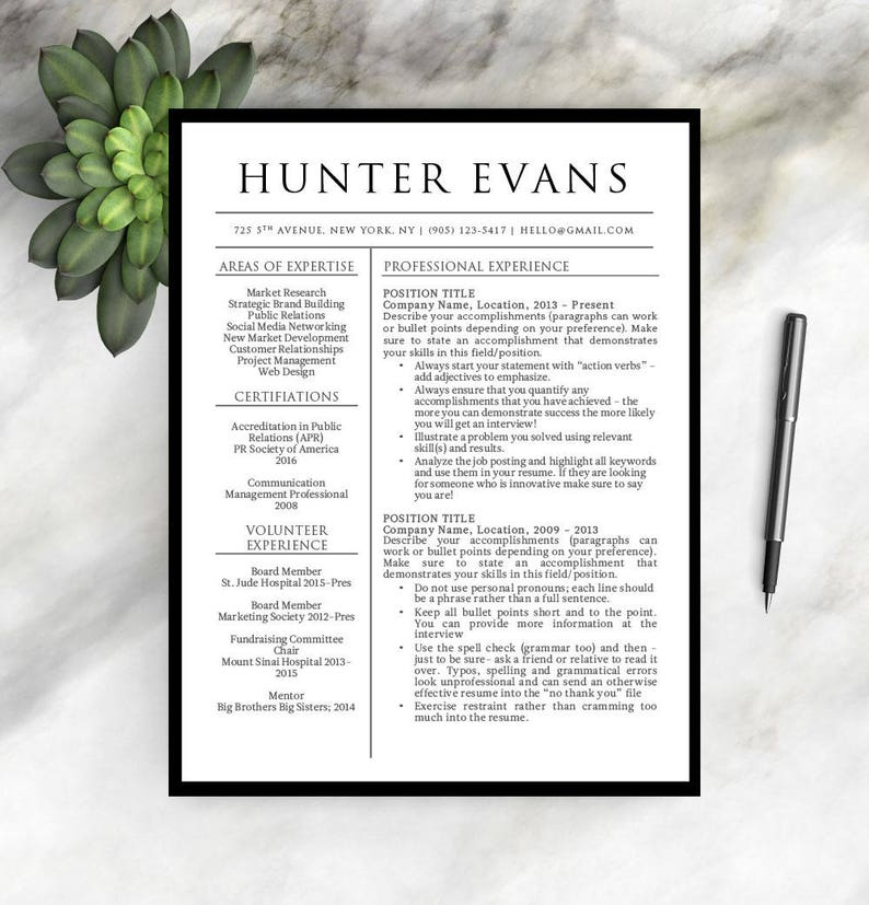 Resume Template for Word 1 & 2 PageProfessional Resume | Etsy