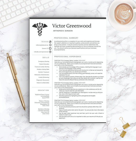 Nurse Resume Template Free Cover Letter Nurse Resume Etsy