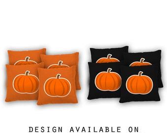 Halloween CORNHOLE BEANBAG TOSS GAME w Bags Party Game Boards Pumpkin Set 701