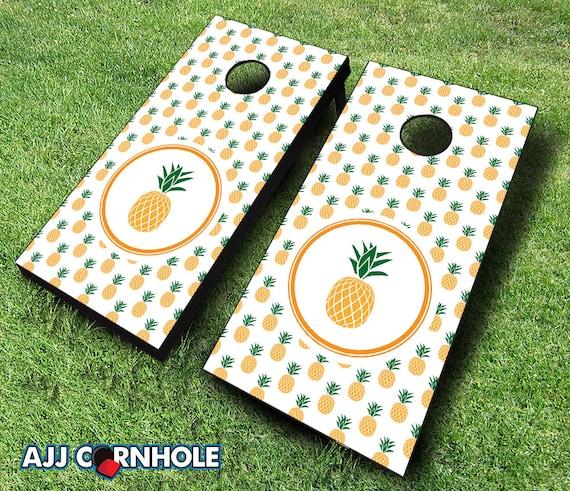 Pineapple Cornhole Set With Bags Cornhole Set Cornhole Etsy Custom Corn Hole Pattern