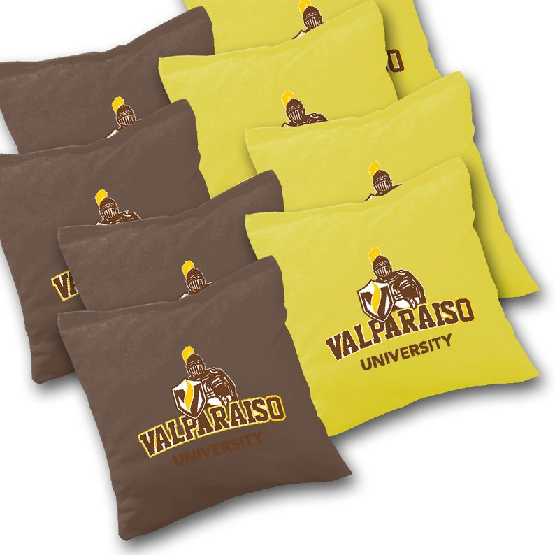 Valparaiso Cornhole Corn Toss Corn hole Bean Bag Toss Officially Licensed Valparaiso Crusaders Striped Cornhole Set with Bags