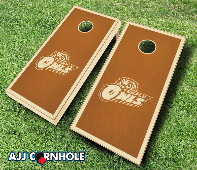 Bean Bag Toss Officially Licensed Temple Owls Maple Stained Cornhole Set with Bags Corn hole Corn Toss Temple Cornhole