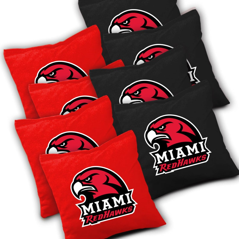Miami Cornhole Corn hole Corn Toss Officially Licensed Miami Redhawks Distressed Cornhole Set with Bags Bean Bag Toss