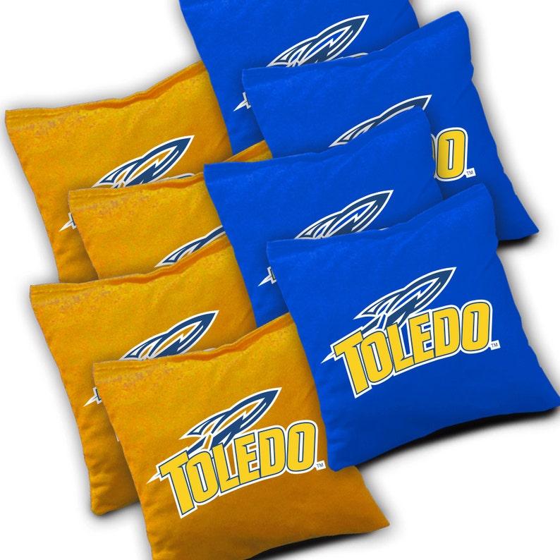 Toledo Cornhole Corn hole Bean Bag Toss Corn Toss Officially Licensed Toledo Rockets Slanted Cornhole Set with Bags