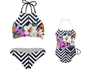 5fb918cc63547 Duo matching swimsuit mommy and me - flowery, flowers, lined black and  white - matching swimwear -mother / daughter set for child / baby