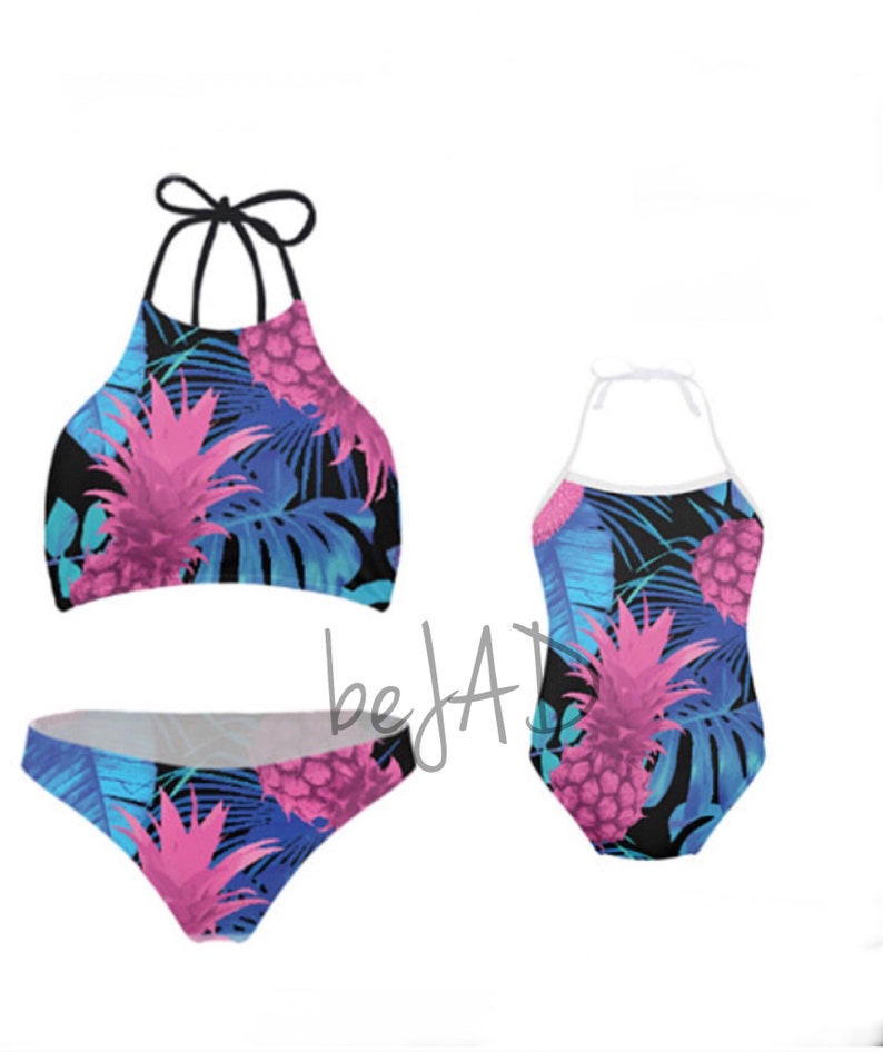 8d13bca29c Duo matching swimwear mommy and Me - Pineapple, tropical - matching  swimsuits- mother and daughter set for child and baby - halter bikini
