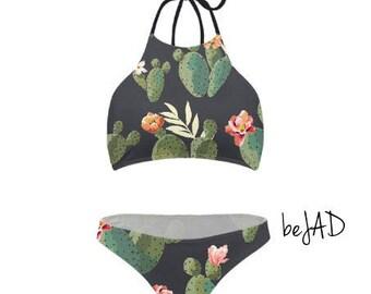 Swimsuit for women - bikini - Halter / cactus pattern / high neck halter swimsuit women