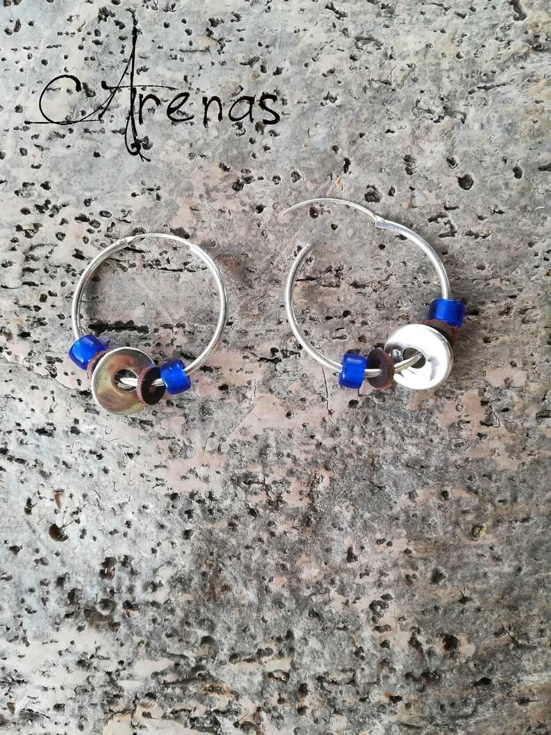aab52982efbb Aros de Plata Azul Pendientes de Plata Argollas con