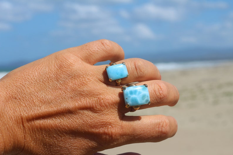 Sky is a Limit larimar and gold rings for couple couple jewelry sky blue dolphin stone rings 2 rings set for couples