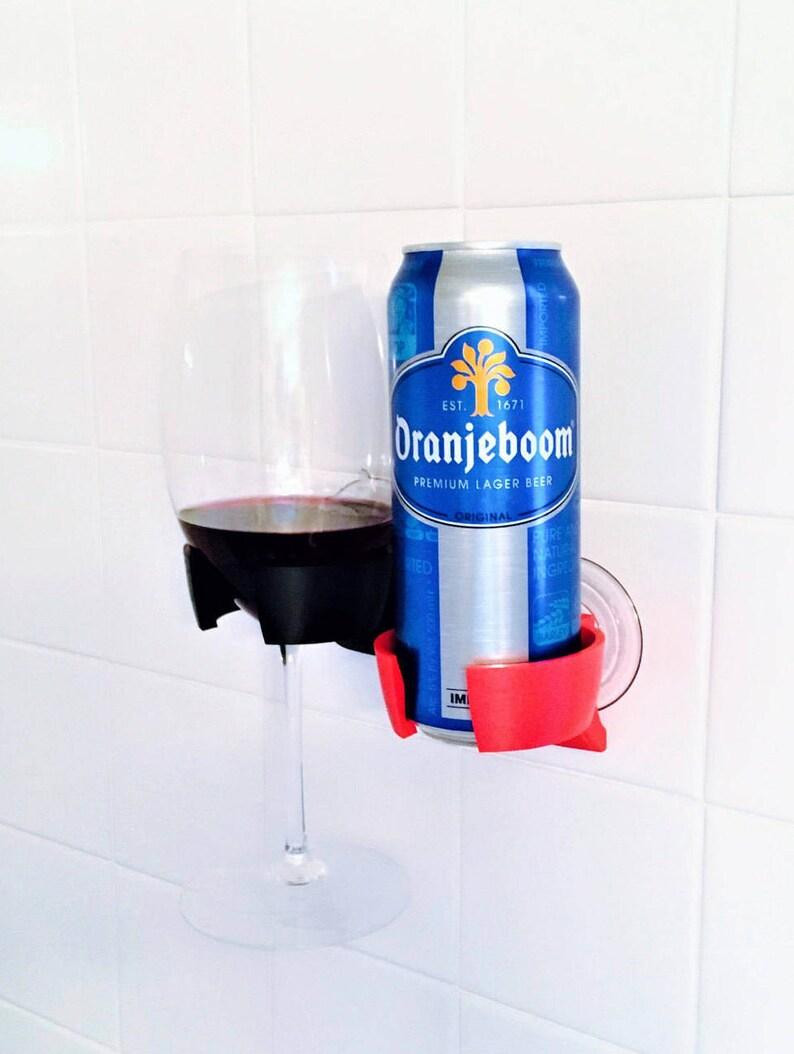 Shower Beer Beverage Wine Holder for Bathroom Bathtub Bath image 0