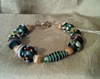 Green and Purple Lampwork Bead Bracelet