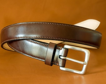 Hand stitched leather belt (32 mm)