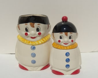 Goebel Clown Small Pitcher and Sugar Bowl, Clown Sugar and Creamer