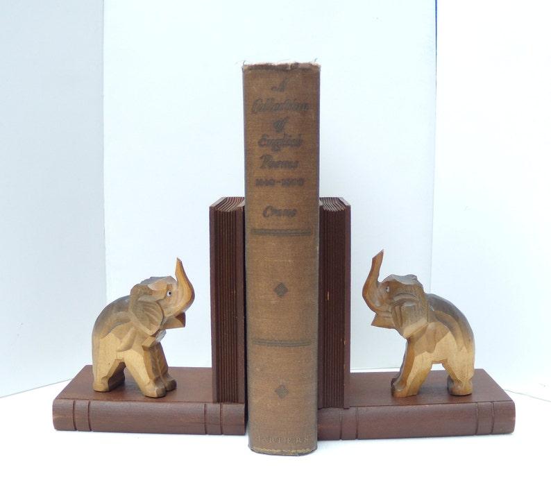 Wooden Elephant Bookends, German Handmade Elephant Bookends