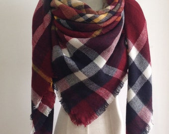 Red/Yellow Plaid Blanket Scarf