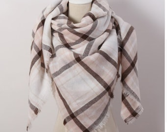 Pink and Brown Large Blanket Scarf