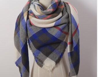 Blue, Grey n' Red Blanket Scarf