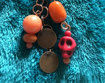 Copper keychain with skull