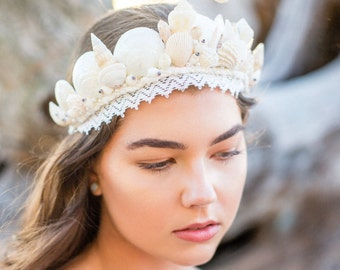 Mermaid Crown - Loralai's Wishes headpiece, seashells headpiece, crown, tiara, unique, handmade, lace