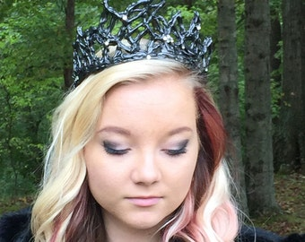 Black Swan Crown, black crown, Swarovski crown, unique crown, handmade, dark crown, dark queen