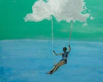 Dream Swing - Framed original acrylic painting OOAK