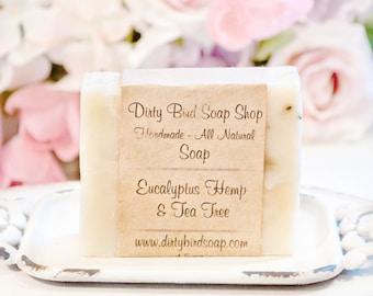 Eucalyptus, Hemp & Tea Tree - Handmade - All Natural - Artisan - Handcrafted - Cold Processed - Vegan - Bath - Beauty - Spa - Skin Care
