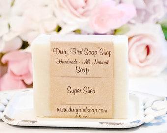 Super Shea Bar Soap - Sensitive Skin - Handmade - Artisan - Handcrafted - Cold Processed - Vegan - Beauty - Spa - Skin Care - Moisturizing