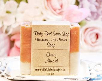 Cherry Almond Hair, Body & Beard Bar Soap - All Natural - Handmade - Artisan - Handcrafted - Cold Processed - Vegan - Bath - Beauty - Spa