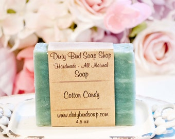 Cotton Candy Bar Soap - Handmade - Artisan - Handcrafted - Cold Processed - Vegan - Bath - Beauty - Spa - Skin Care - Man - Kids - Gift