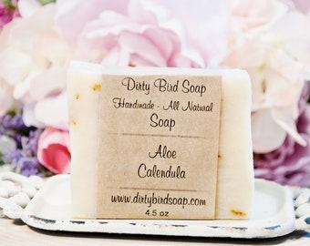 Aloe Calendula Bar Soap - All Natural - Handmade - Artisan - Handcrafted - Cold Processed - Vegan - Bath - Beauty - Spa - Skin Care - Burn