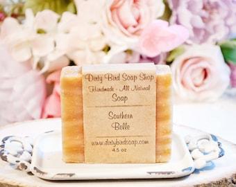 Southern Belle Bar Soap - Handmade - Artisan - Handcrafted - Cold Processed - Vegan - Bath - Beauty - Magnolia - Skin Care - Creamy -Peach