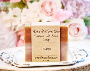 Mango with Aloe Bar Soap - Handmade - Artisan - Handcrafted - Cold Processed - Vegan - Bath - Beauty - Spa - Skin Care - Handcrafted