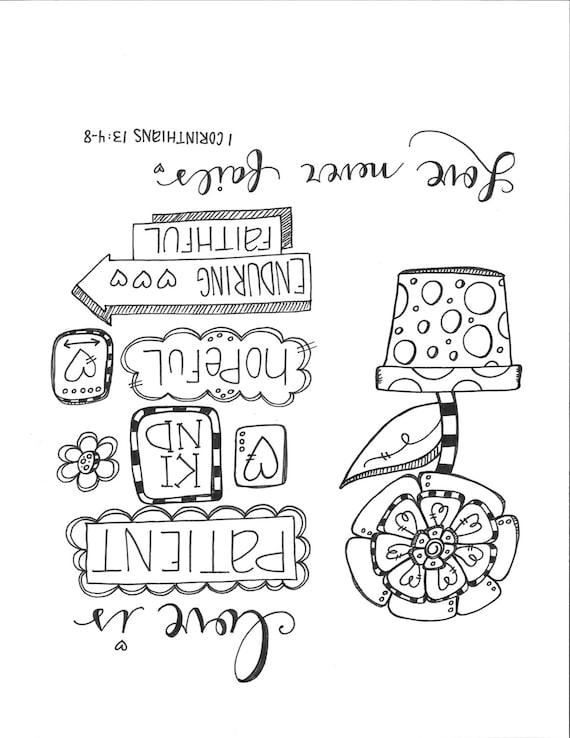 Pagina da colorare di bibbia journaling love never fails - Pagina da colorare di una bibbia ...