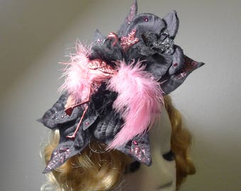 Black Flower Hair Clip with a Pink Flamingo, with Bow and Feathers ,Fascinator,  Rockabilly Pin Up, Tiki, Hawaii, Burlesque, Retro, OOAK!