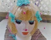 Pink Birdcage Veil with Blue Flowers Clip on . Bridal Pin Up Bride Hawaiian Beach Wedding Vintage Retro Summer Rockabilly Hair Clip ...